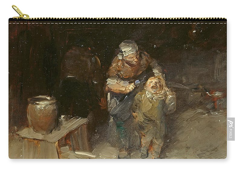 Wilhelm Busch Carry-all Pouch featuring the painting Small But Stubborn, The Unruly by Wilhelm Busch