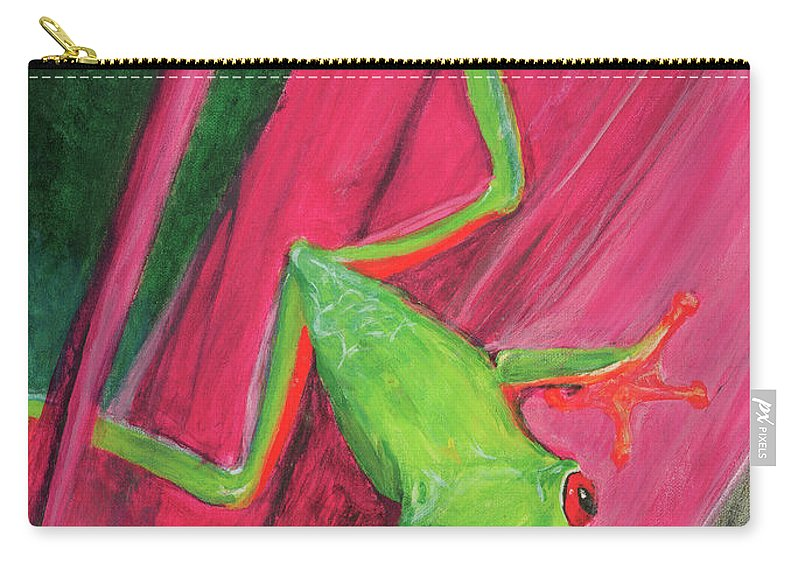 Frog Carry-all Pouch featuring the painting Small Frog by Terry Lewey