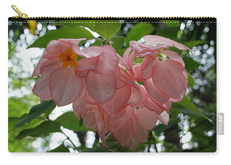 Orange Carry-all Pouch featuring the photograph Small Orange Flower Pink Heart Leaves by Rob Hans