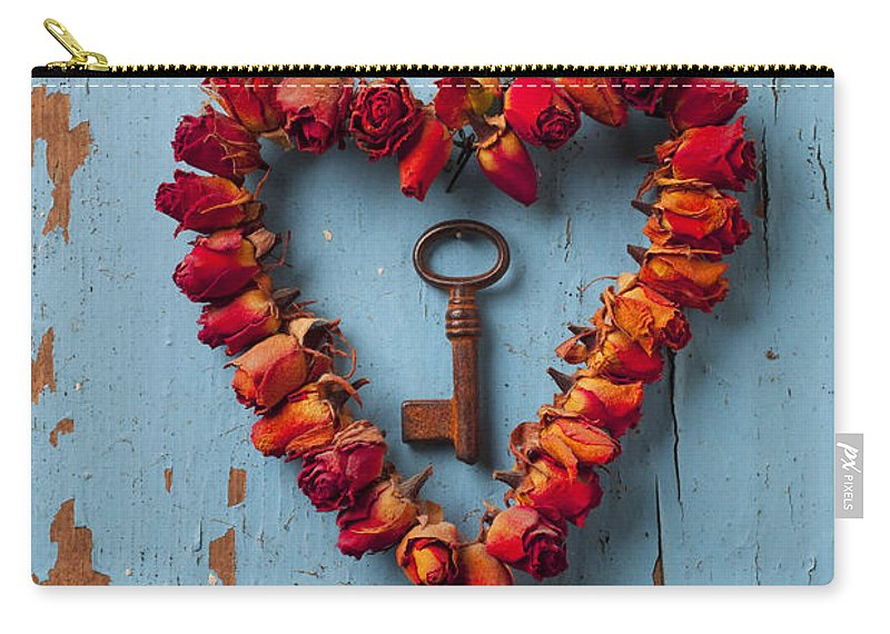 Love Rose Heart Wreath Key Carry-all Pouch featuring the photograph Small rose heart wreath with key by Garry Gay