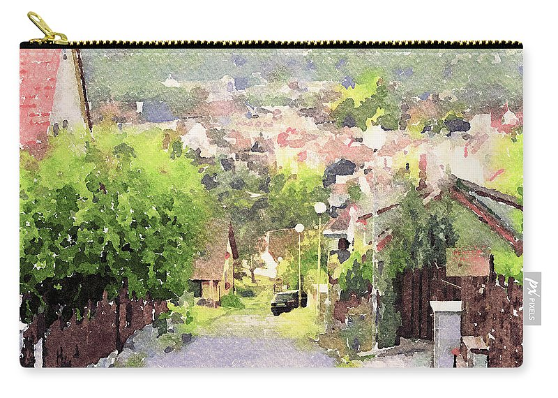 Old Carry-all Pouch featuring the digital art Small Town Scape by Yury Malkov