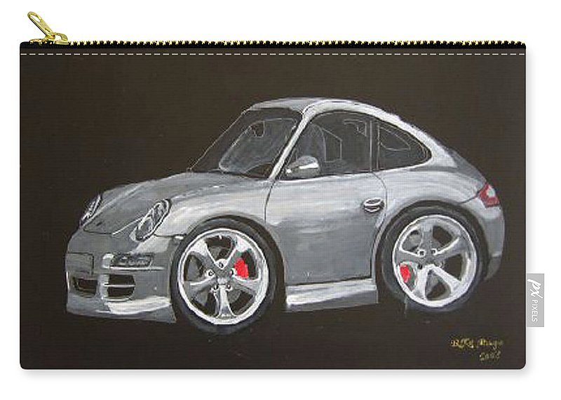 Car Carry-all Pouch featuring the painting Smart Porsche by Richard Le Page