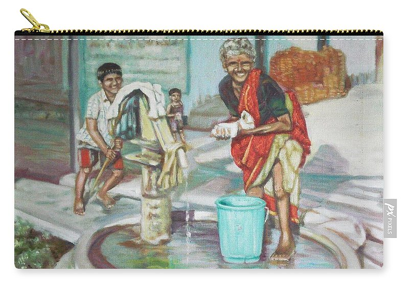 Usha Carry-all Pouch featuring the painting Smile Plz by Usha Shantharam