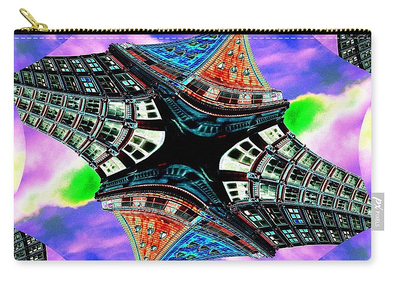 Seattle Carry-all Pouch featuring the digital art Smith Tower Fractal by Tim Allen
