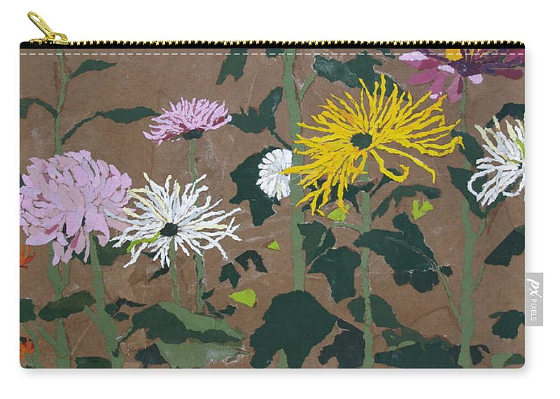 Collage Carry-all Pouch featuring the painting Smith's Giant Chrysanthemums by Leah Tomaino