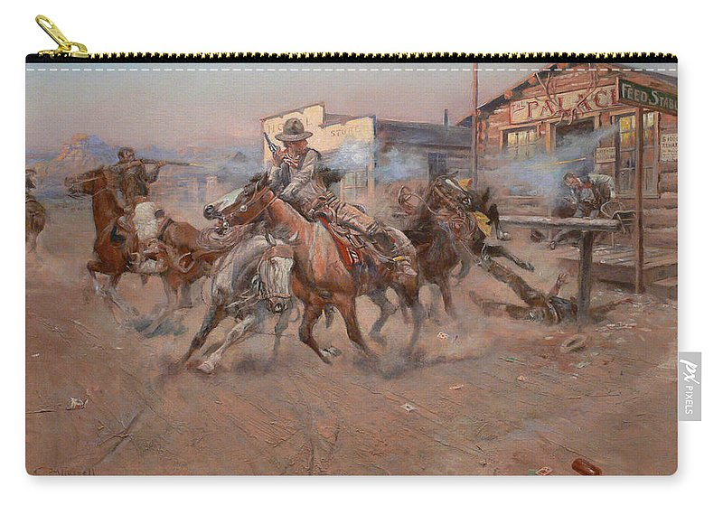 Charles Russell Carry-all Pouch featuring the digital art Smoke Of A 45 by Charles Russell