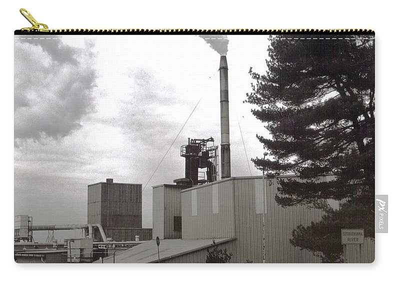 Black And White Photograph Carry-all Pouch featuring the photograph Smoke Stack by Thomas Valentine