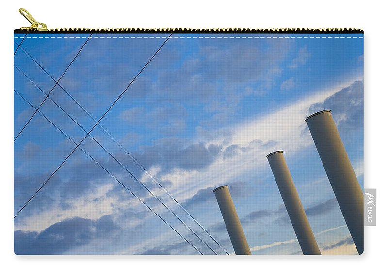 Blue Carry-all Pouch featuring the photograph Smoke Stax by Skip Hunt