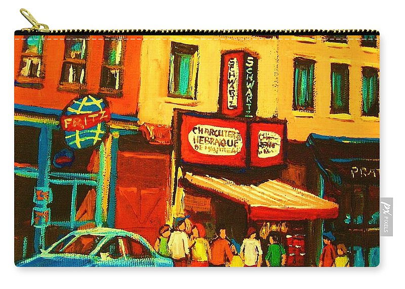 Montreal Smoked Meat Restaurants City Scenes Carry-all Pouch featuring the painting Smoked Meat Sandwiches Await by Carole Spandau