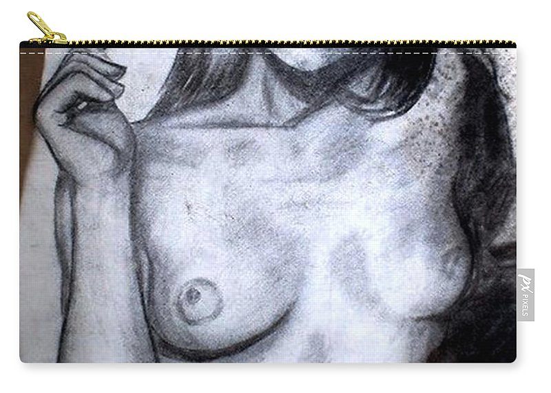 Nude Carry-all Pouch featuring the drawing Smoker by Thomas Valentine