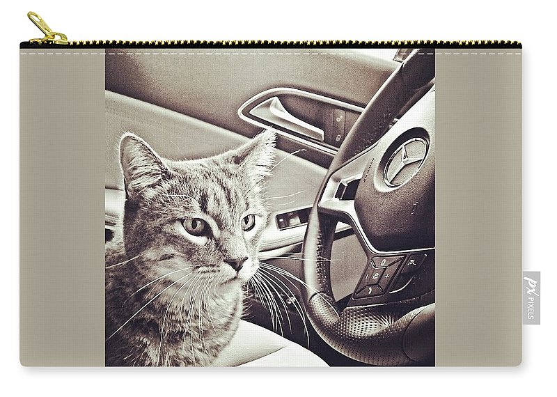 Beautiful Carry-all Pouch featuring the photograph Smokey Loves The Mercedes Cla Too! by Austin Tuxedo Cat