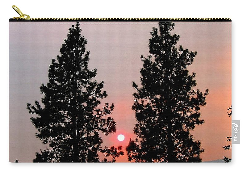 Smoke Carry-all Pouch featuring the photograph Smokey Okanagan Sunset by Will Borden