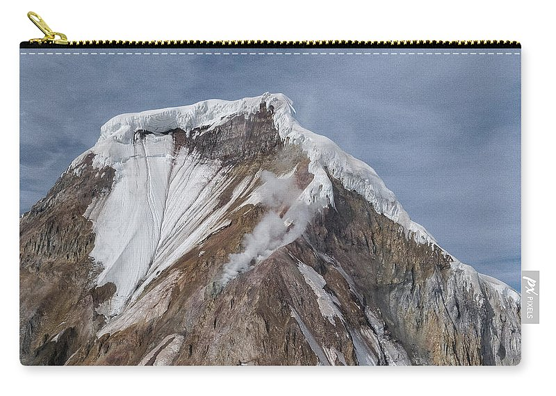 Alaska Carry-all Pouch featuring the photograph Smoking Summit by Richard Sandford