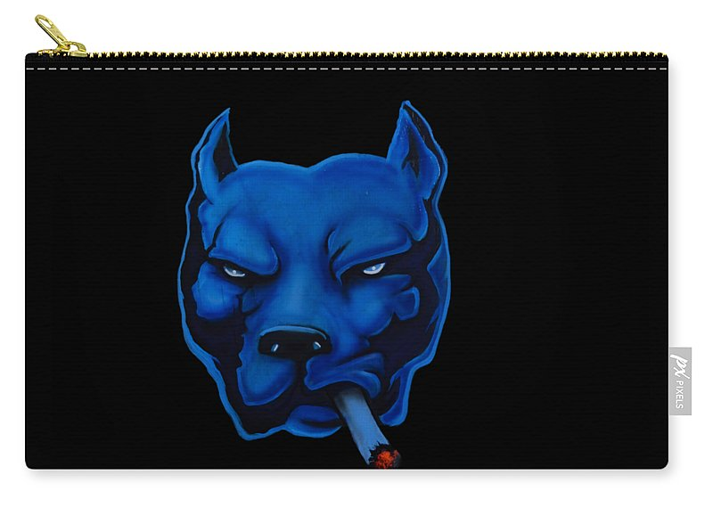 Dog Carry-all Pouch featuring the painting Smoky by Fabian Rizo