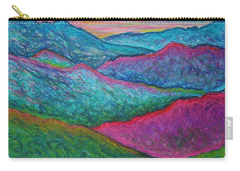 Oil Pastels Carry-all Pouch featuring the painting Smoky Mountain Abstract by Nancy Mueller