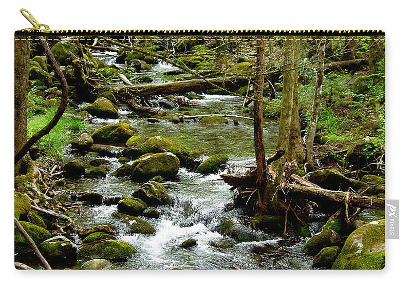 River Carry-all Pouch featuring the photograph Smoky Mountain Stream 2 by Nancy Mueller