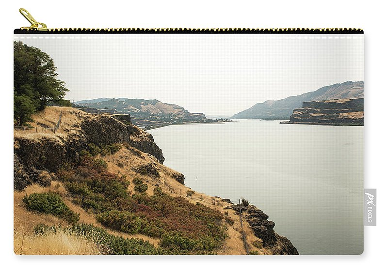 Smoky Sky Gray River Carry-all Pouch featuring the photograph Smoky Sky Gray River by Tom Cochran