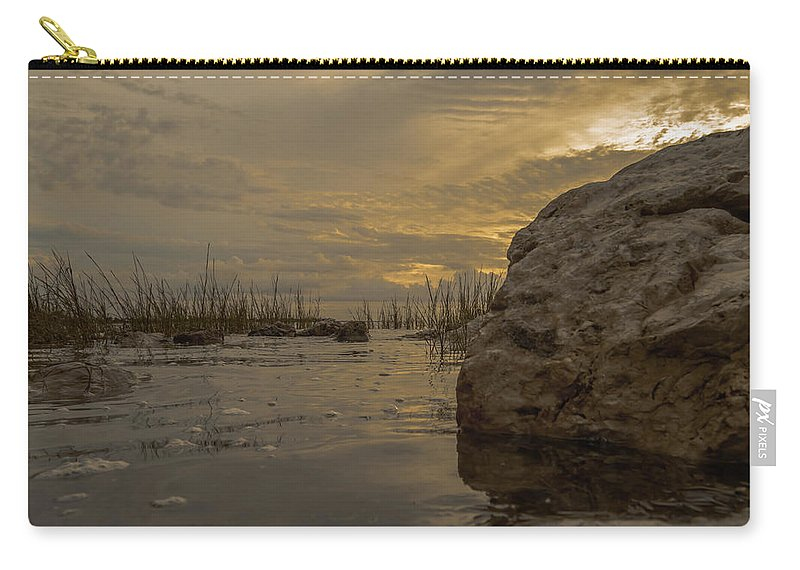 Sunrise Carry-all Pouch featuring the photograph Smooth Boulder by Leticia Latocki