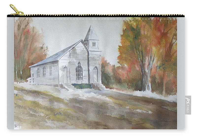 Smyth Chapel Carry-all Pouch featuring the painting Smyth Chapel, Emory, Virginia by Jim Stovall