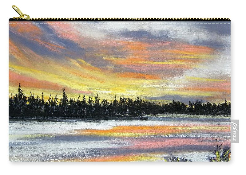 Sunset Carry-all Pouch featuring the pastel Snake River Sunset by Gale Cochran-Smith