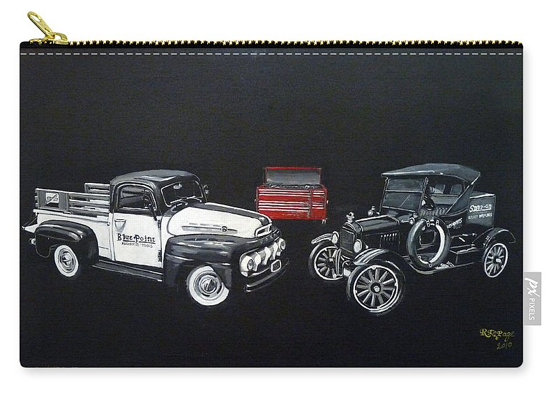 Trucks Carry-all Pouch featuring the painting Snap-on Ford Trucks by Richard Le Page