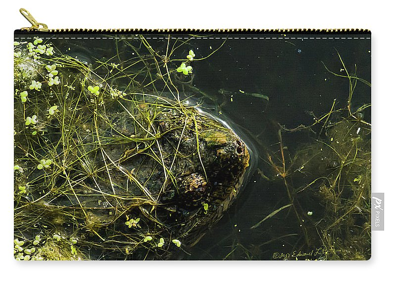 Snapping Turtle Carry-all Pouch featuring the photograph Snapping Turtle Head by Edward Peterson
