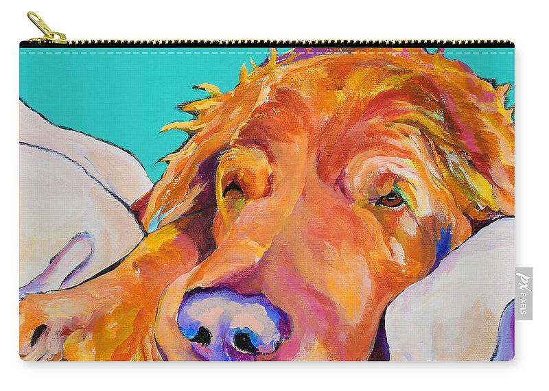 Dog Poortraits Carry-all Pouch featuring the painting Snoozer King by Pat Saunders-White