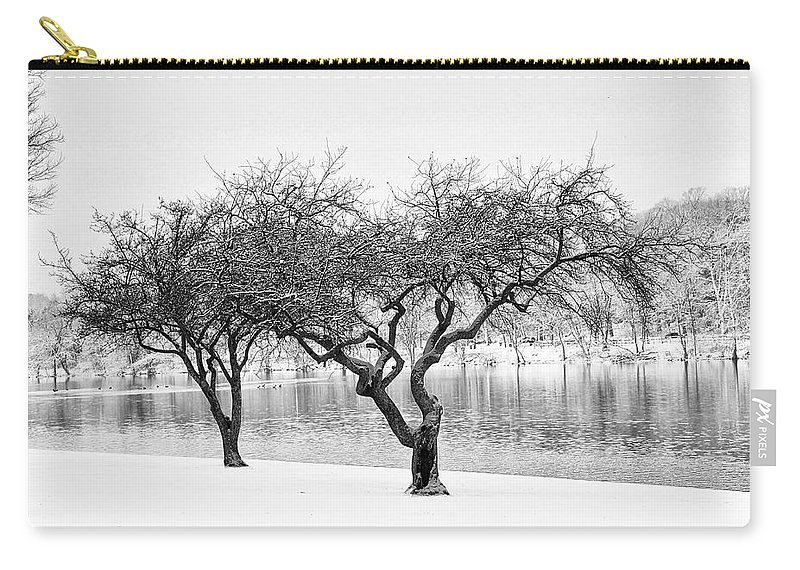Snow Carry-all Pouch featuring the photograph Snow Along The Schuylkill River by Bill Cannon