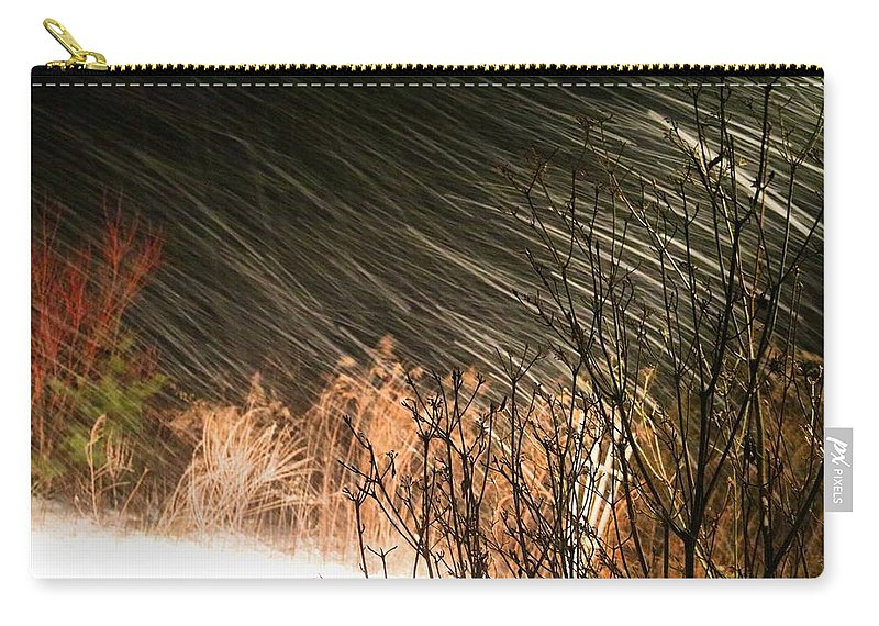 Snow Carry-all Pouch featuring the photograph Snow And Wind by Kathryn Meyer