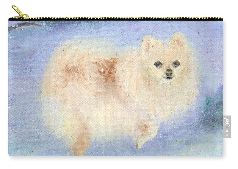 Dog Carry-all Pouch featuring the painting Snow Angel by Paula Emery