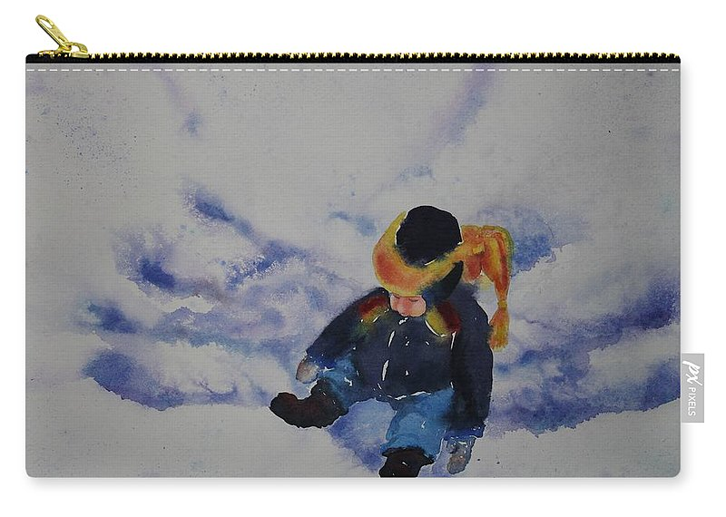 Winter Carry-all Pouch featuring the painting Snow Angel by Ruth Kamenev