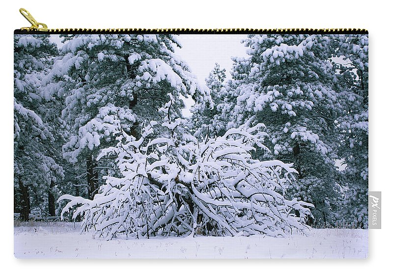 Flatirons Carry-all Pouch featuring the photograph Snow Burdened Tree In The Flatirons by Cary Leppert