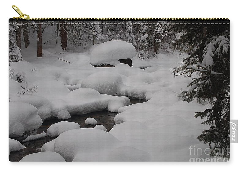 Snow Carry-all Pouch featuring the photograph Snow Capret by Lucy Bounds