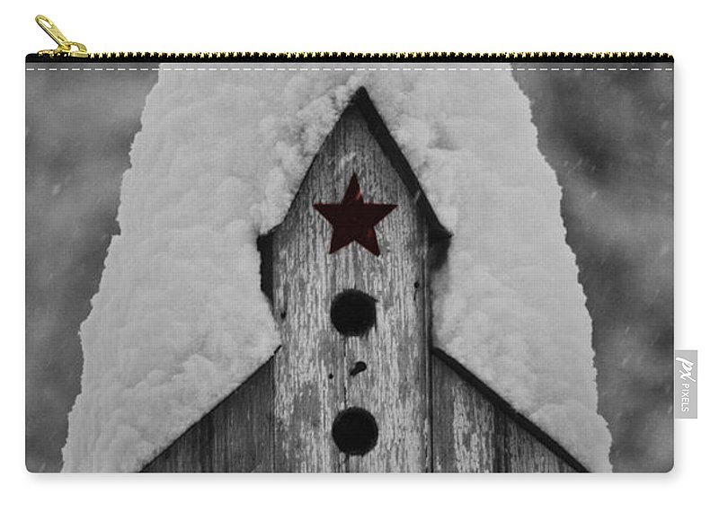 Snow Carry-all Pouch featuring the photograph Snow Covered Birdhouse by Teresa Mucha