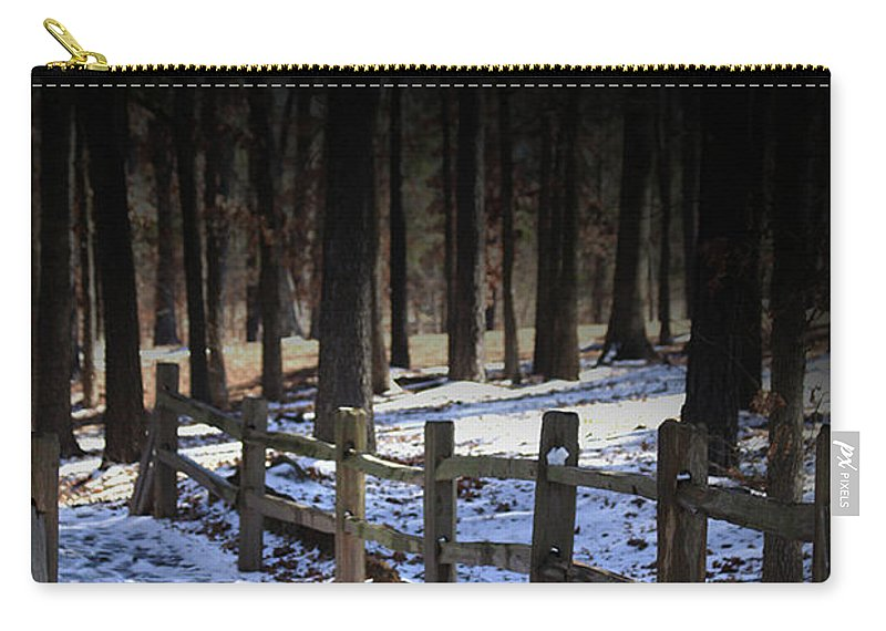 Snow Carry-all Pouch featuring the digital art Snow Covered Bridge by Kim Henderson