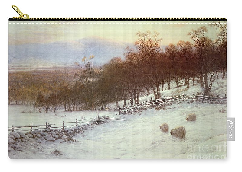 Snow Carry-all Pouch featuring the painting Snow Covered Fields With Sheep by Joseph Farquharson