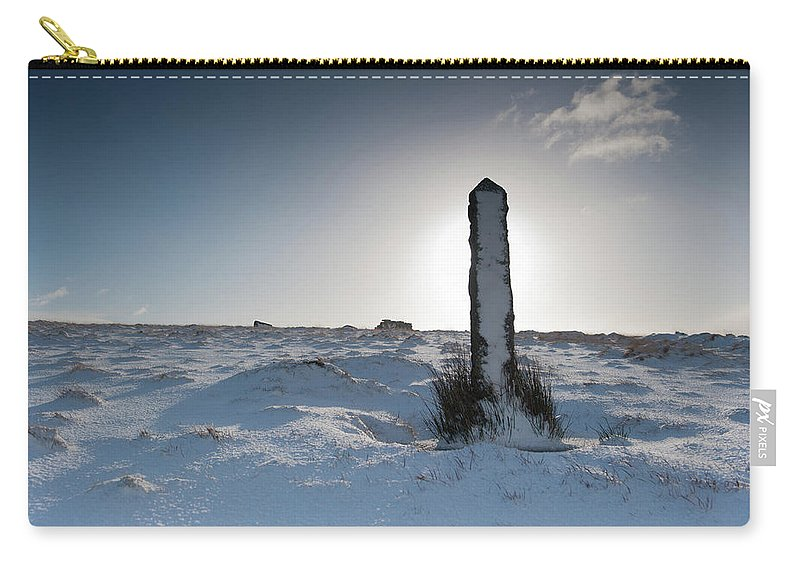 Winter Carry-all Pouch featuring the photograph Snow Covered Post II by Helen Northcott
