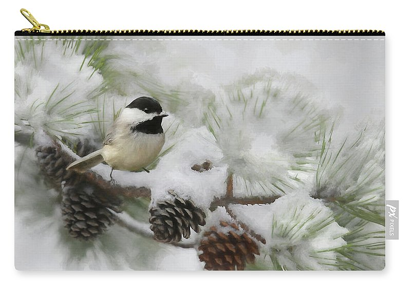 Bird Carry-all Pouch featuring the photograph Snow Day by Lori Deiter