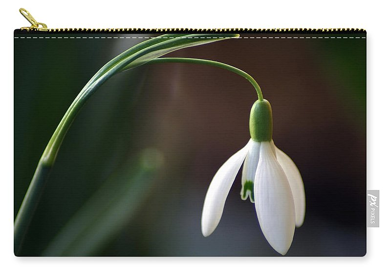 Snow Drop Carry-all Pouch featuring the photograph Snow Drop by Karen Ulvestad