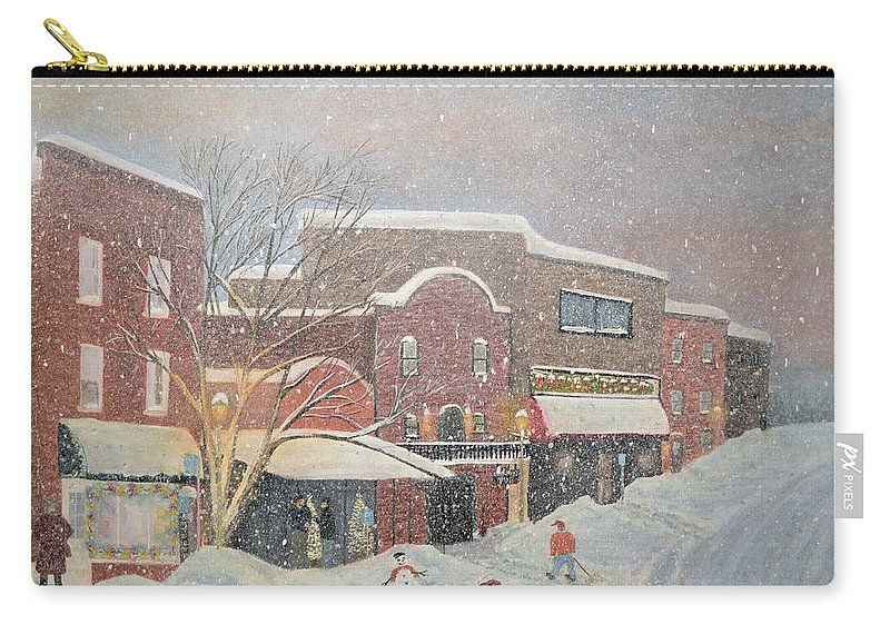 Christmas Carry-all Pouch featuring the painting Snow For The Holidays Painting by Ken Figurski
