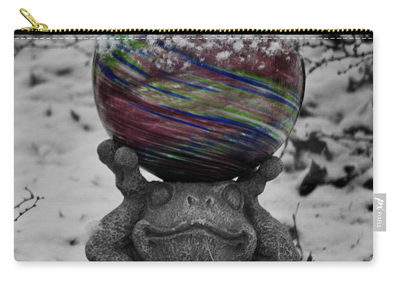 Snow Carry-all Pouch featuring the photograph Snow Frog by Teresa Mucha