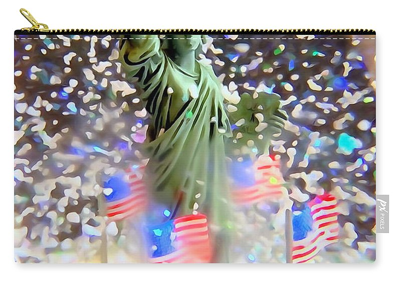 Digital Carry-all Pouch featuring the photograph Snow Globe Liberty by Ed Weidman
