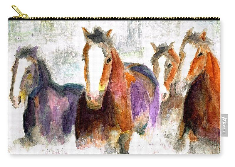 Horses Carry-all Pouch featuring the painting Snow Horses by Frances Marino