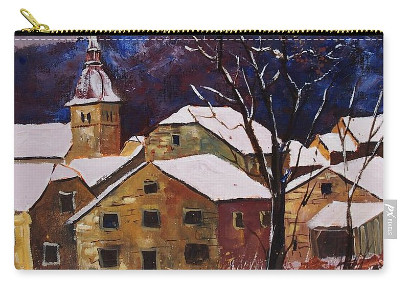 Landscape Carry-all Pouch featuring the painting Snow In Chassepierre by Pol Ledent