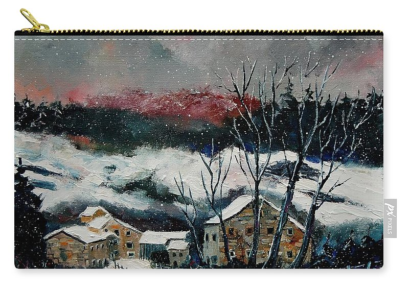Winter Carry-all Pouch featuring the painting Snow In Sechery Redu by Pol Ledent