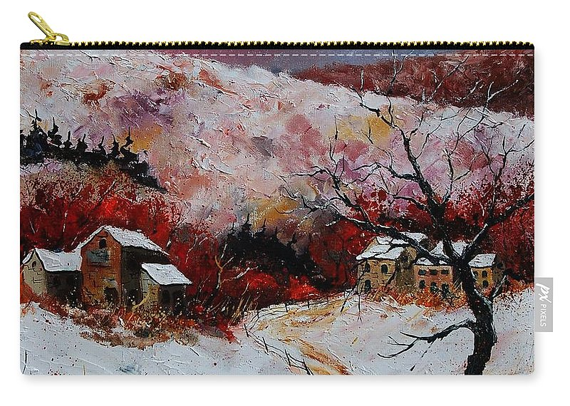 Snow Carry-all Pouch featuring the painting Snow In The Ardennes 78 by Pol Ledent
