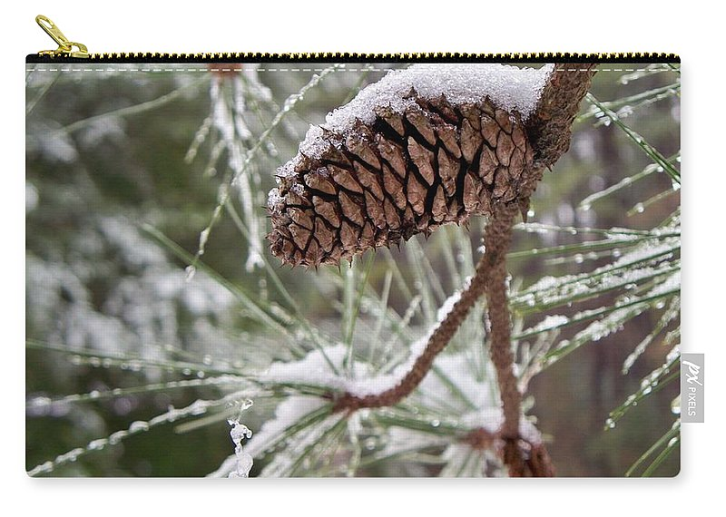 Pine Carry-all Pouch featuring the photograph Snow In The Pines by Betty Northcutt