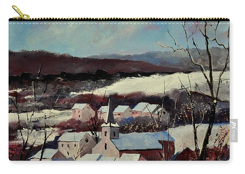 Snow Carry-all Pouch featuring the painting Snow in Vittrival by Pol Ledent