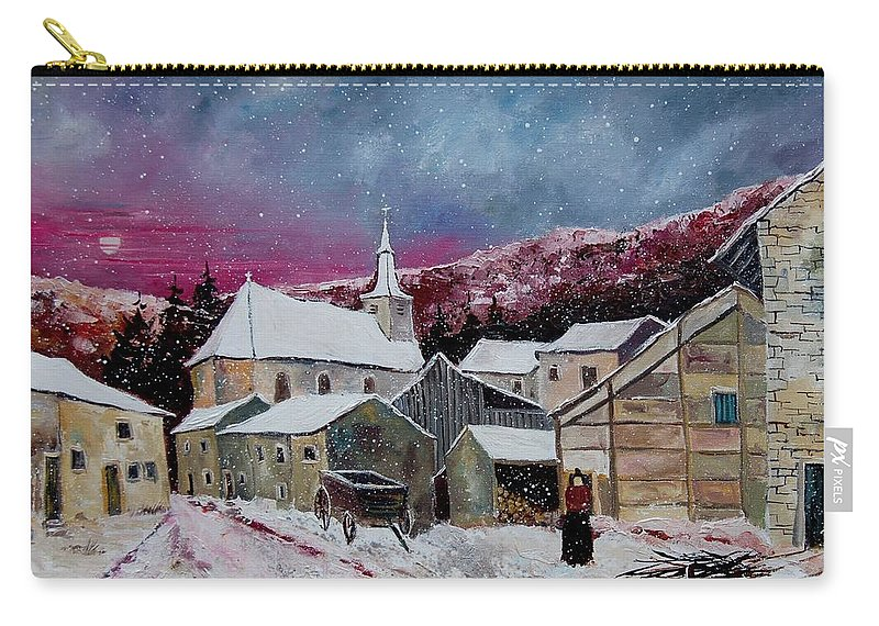 Snow Carry-all Pouch featuring the painting Snow Is Falling by Pol Ledent