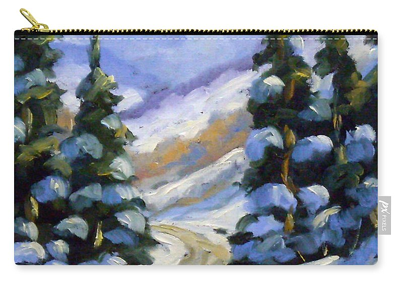 Art Carry-all Pouch featuring the painting Snow Laden Pines by Richard T Pranke